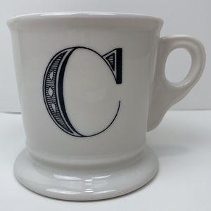 Anthropologie White Coffee Mug Black Letter C